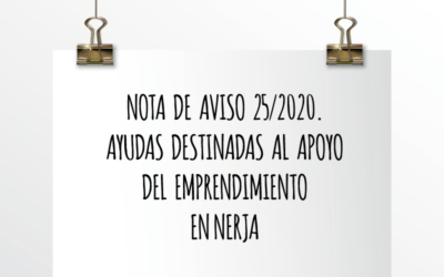 Nota de Aviso 25/2020. Ayudas destinadas al apoyo del emprendimiento en Nerja.