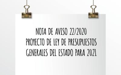 Nota de aviso 22/2020. Proyecto de ley de presupuestos generales del Estado para 2021.