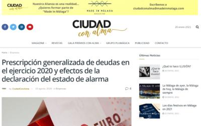 Prescripción generalizada de deudas en el ejercicio 2020 y efectos de la declaración del estado de alarma – Ciudad con Alma
