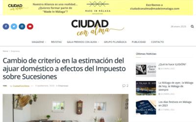 Cambio de criterio en la estimación del ajuar doméstico a efectos del Impuesto sobre Sucesiones – Ciudad con Alma