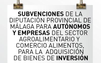 Nota de Aviso 28/2020. Convocatoria de Subvenciones de la Diputación Provincial de Málaga para autónomos y empresas dedicadas al sector agroalimentario y comercio de productos alimenticios.
